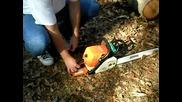 Stihl Ms290 Chainsaw with 20 bar and chain test cut