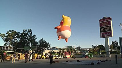Baby balloon mocking Trump's hot-air tantrums takes flight over LA