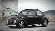 Прекрасен черен Vw Beetle Ragtop от 1960-та
