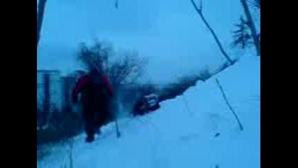 ска4ане от 2 метра в едни заснежени храсти