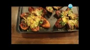 Картофени кожи, кюфтета в сос, печено брюкселско зеле, круши в сладък сос. - Бон Апети(11.02.2013)
