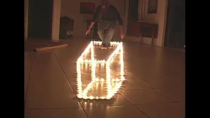 Оптическа илюзия със свещи