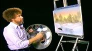 S05 Радостта на живописта с Bob Ross E04 - зимна тишина ღобучение в рисуване, живописღ