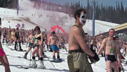 Over 1,000 SWIMSUIT-clad skiers break downhill record in Siberia