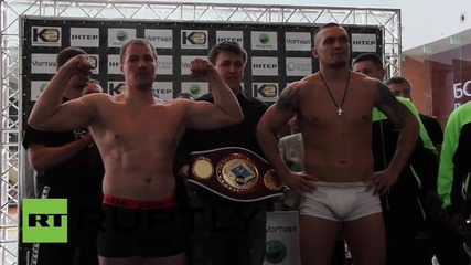 Ukraine: Russia's Knyazev and Ukraine's Usyk weigh-in before boxing bout