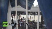 Унгария: Емигранти и бежанци протестират на гара Келети в Будапеща