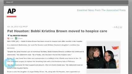 Pat Houston: Bobbi Kristina Brown Moved to Hospice Care