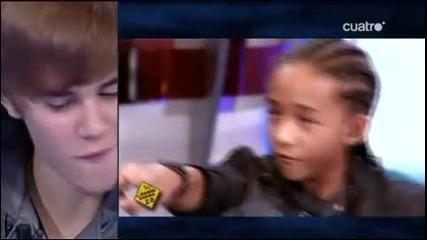 Justin Bieber прави на водещия като неговата прическа / 29.10.2010 /