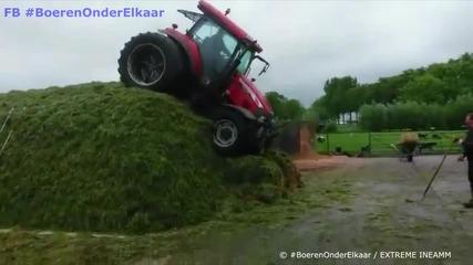 Екстремно • този тракторист си разбира от работата !