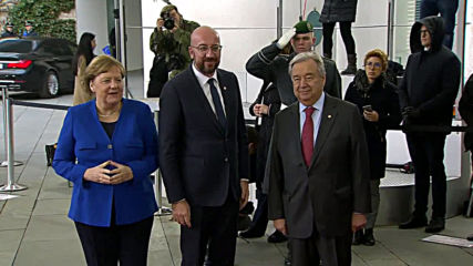Germany: EU Council Pres. Michel greeted by Merkel and Guterres at Libya conference