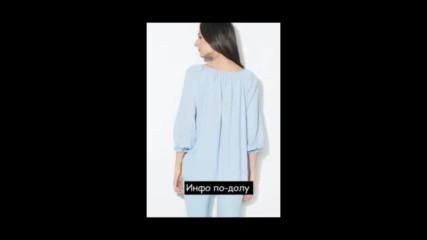 Zee Lane Collection Светлосиня блуза от шамбре