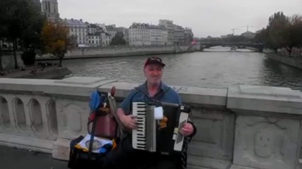 04. In this wonderful day with an one accordionist on the St. Louis Bridge - 2017 year. Hd