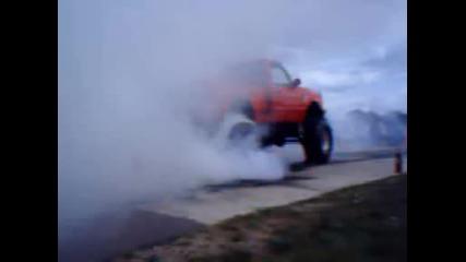 Monster truck burnout