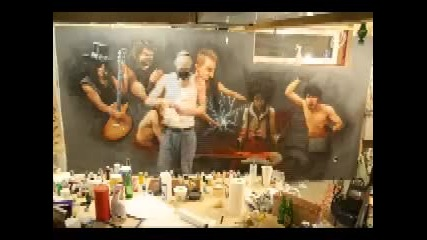 Rockstar airbrushed mural