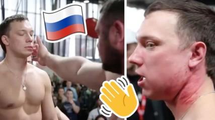 Само в Русия: Мъже си бият шамари до кръв в странен шампионат