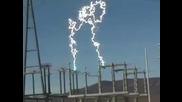 Красива светкавица в електроцентрала