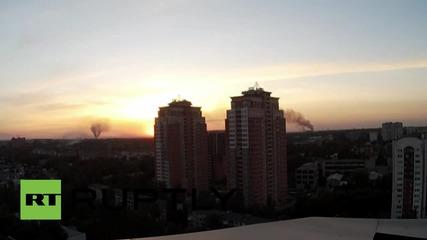 Облаци в небето над Донецк след бомбардировките