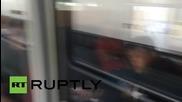 Austria: Refugees wait aboard Munich-bound train at Vienna's Westbahnhof