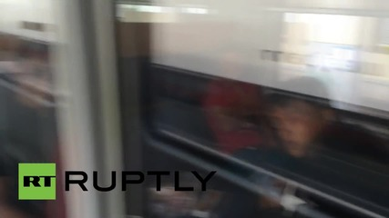 Austria: Refugees wait aboard Munich-bound train at Vienna's Westbahnhof