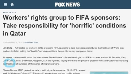 Workers' Rights Group to FIFA Sponsors: Take Responsibility for Horrific Conditions in Qatar