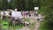 "Austria: Activists protest ""Bilderberg Mafia"" outside conference grounds"