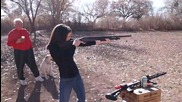 Elena shooting her Remington 870 12 gauge shotgun