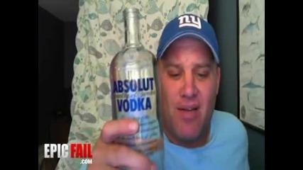 Ненормален изпива цяло шише водка за 15секунди!