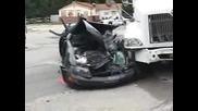 Semi Truck Vs Car - Head On Accident