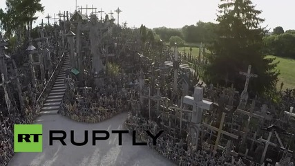 Lithuania: See drone footage of the hill of 200,000 crosses