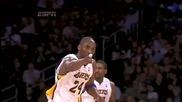 Kobe Bryant points at Jeff Van Gundy
