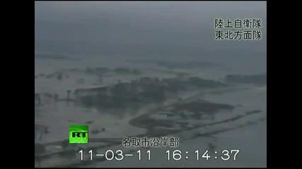 видео от хиликоптер [ гигантски вълни от заметресенитето в Япония ]