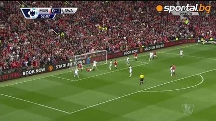 Фалстарт за Юнайтед в дебюта на Ван Гаал - Манчестър Юнайтед 1:2 Суонзи