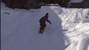 Каране на сноуборд в аквапарк през зимата!