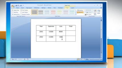 Microsoft® Word 2007: How to create formulas in tables on Windows® 7?