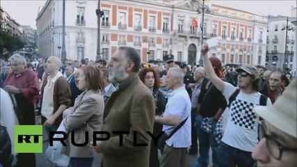 Антиправителствените протести в Мадрид продължават