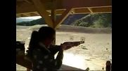 Hot girl shoots a Mossberg 500 00 buck shot magnum round for the first time...
