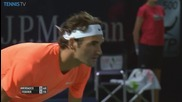 Roger Federer Hits a Hot Shot Volley Past Verdasco - Dubai 2015