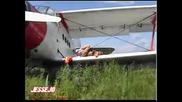Jessejo teasing on a plane`s wing