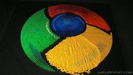 Емлемата на Googlechrome като домино