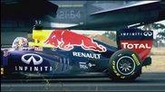 Болидът от Formula 1 на Даниел Рикиардо срещу F / A - 18 Hornet