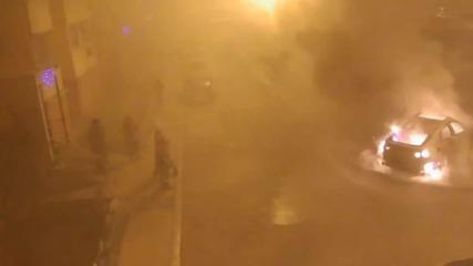 Вижте как маскирани подпалиха Бмв Х6, за да си отмъстят (видео)