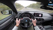 Bmw M5 F90 Competition Review Pov Test Drive on Autobahn Road
