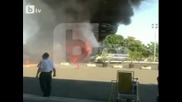 Ексклузивни кадри секунди след взрива на автобуса на летище Сарафово!!!
