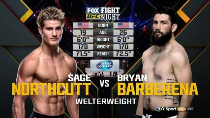 Sage Northcutt vs Bryan Barberena (ufc on Fx 18, 30.01.2016)