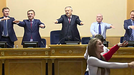Shake it up! Russian MPs warm up in Leningrad parliament