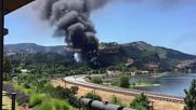 USA: Fire breaks out after train derails in Oregon