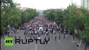 Армения: Дрон улавя наелектризираната атмосфера в Ереван, 9 ден протести