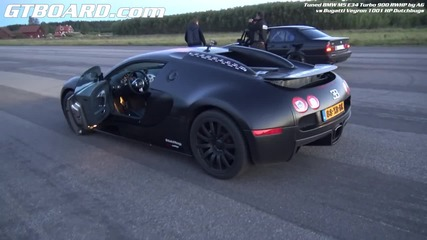 Bugatti Veyron vs Bmw M5 E34 Turbo 900 Hp
