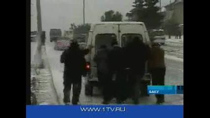 зимната обстановка в Баку- лебедово езеро