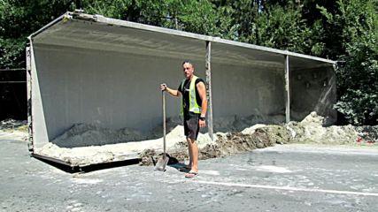 Изправяне и репатриране на катастрофирала Scania с гипс край Враца 04.08.2016